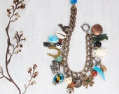 Lucky Talisman Charm Bracelet - vintage good luck symbols on oxidized brass chain