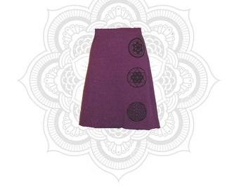 Organic Skirt - Hemp Clothing - Sacred Geometry Print Trinity Skirt - Organic Cotton and Hemp Skirt- Handmade, dyed, and printed