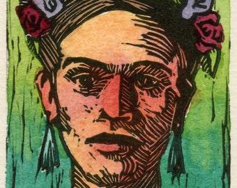 Original Framed Color Linocut Art Frida Kahlo Corona Belinda DelPesco