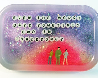 Threesome Potential Art in Your Shower: Even the Worst Days Sometimes End in Threesomes, Custom Polyamory Gift, Triad, Threesome, Queer Art