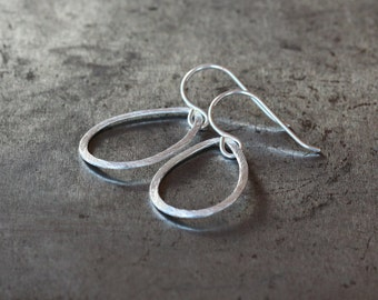 Large Drop Earrings, Silver Teardrop Dangle, Sterling Silver Earrings, Textured Metal, Everyday Earrings, Versatile Look, Minimalist Jewelry