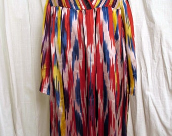 Vintage 1980's Uzbek Hand Woven  Ikat Dress Vivid Colors