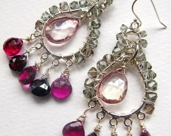 Rhodolite garnet briolette and gray swarvoski crystal earrings