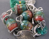PMC Recycled Fine Silver and Boro Lampwork Tassel Link Bracelet SRAJD