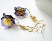 Lampwork Glass Wafer Earrings -  Purple and  Gold Discs -  Gold Plated - Wire Wrapped  - Pansies