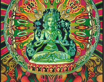 Guanyin Goddess of Compassion Original Painting Psychedelic Goddess Art Kwan Yin