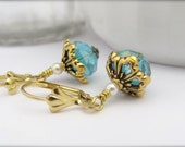 Aqua Blue Earrings, Victorian Abbey Earrings, Dangle Earrings, Bohemian Earrings, Wedding Earrings, Bridal Jewelry, Blue Bridesmaid