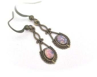 SALE Dainty Opal Glass Earrings, Art Deco Earrings, Petite Earrings, Art Glass Earrings, Bohemian Earrings, Bohemian Wedding