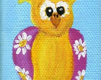 "Owl painting, owl art, owl mini canvas,  bird painting, original 2"" x 3"" mini owl artwork, nursery art owl, small owl painting"