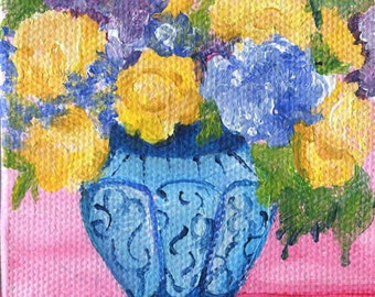 Acrylic painting -Roses, Hydrangeas mini painting, Easel, small floral painting, Blue and white vase, original miniature canvas painting