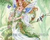 Fairy art print, Tarot, The Empress, Poppies, Fairy Queen, abundance, growth, nature, woodland forest, 8x10,