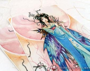 Cherry Blossom anime fairy postcard, Japanese kimono, Meredith Dillman