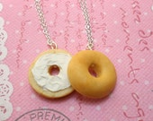 Best Friends Necklaces BFF -  Bagel Besties: Miniature Food Jewelry Necklace, Polymer Clay Food Necklace