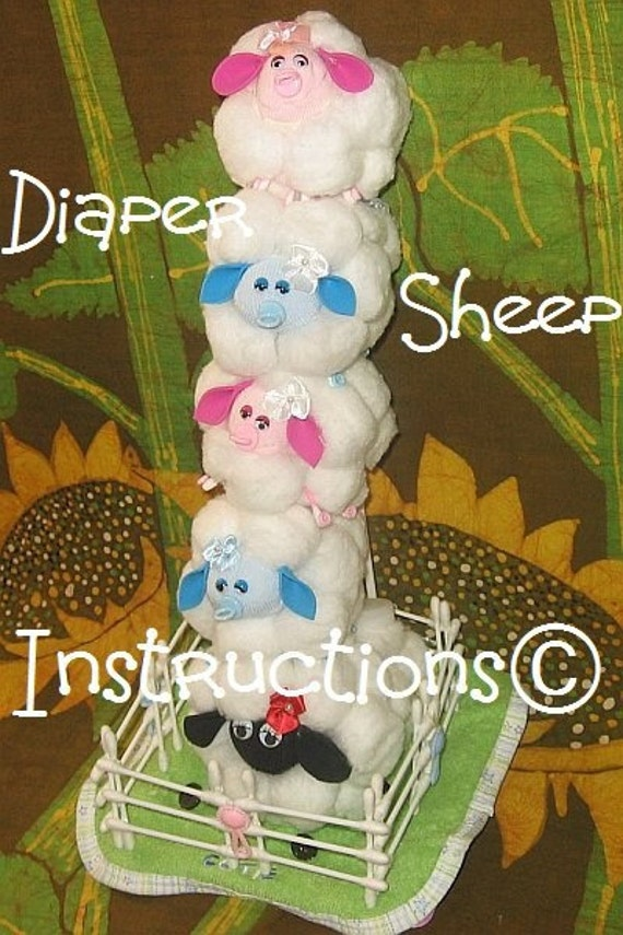 Diaper SHEEP - LAMB instructions. Don't be SHEEPISH great baby shower gift, diaper cake topper
