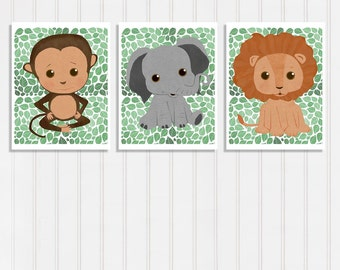 Baby Jungle Nursery Decor Elephant Print Wall Art Set Of Three Lion Poster Cute Monkey Picture Safari Animal Theme Green Boys Room 8.5 x 11
