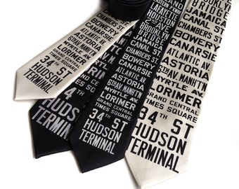 New York City Subway Sign Necktie. NYC, Brooklyn, Queens destination silkscreen tie. From original 1930s roll signs. Choose standard or XL.