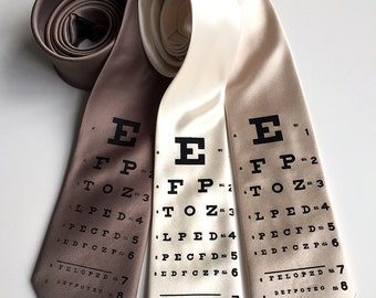 Eye Chart silk necktie. Optometrist print men's tie. Hand silkscreened necktie. Eye doctor, ophthalmology, optician, glasses wearing gift.