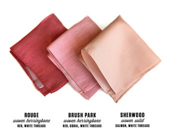 Linen pocket square. Choose red and pink shades: coral, salmon, dark coral red. Rustic woven silk & linen blend. Perfect groomsmen gift.