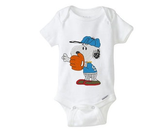 BASEBALL  Snoopy - Baby Girl Boy Onesie