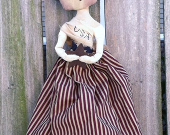 Americana Doll Primitive Folk Art