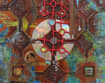 Time Passage II: original mixed media collage