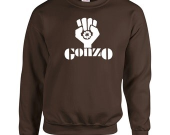 Gonzo Fist Crewneck Sweatshirt - Size S - 5X - Your choice of color -Hunter S Thompson Inspired