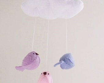 Baby mobile - pink lilac and periwinkle nursery decor - cloud mobile - bird mobile