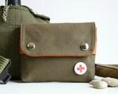 UNISEX pouch -  olive + pumpkin  - small unisex canvas travel waist belt pouch
