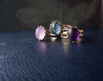 wisteria ring - matte vintage glass stone ring festival costume jewelry handmade soft grunge jewelry