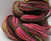 Handspun Yarn Single Ply Bulky, Polwarth Wool, 200 yards, 4.1 oz. - DUSK TO DAWN - Singles Lopi Waldorf Doll Hair Knitting Crochet Weaving