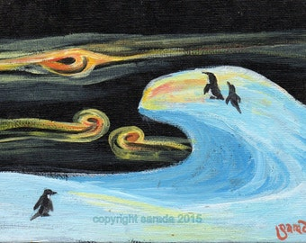 Antarctic frozen winter penguin art original acrylic painting, ice blue arctic frozen aurora psychedelic sky solitary cold landscape