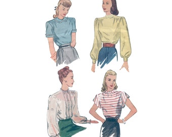40s Puffy Sleeve Blouse Pattern vintage 34-28-36 lace inserts Sporty or Romantic Katherine Hepburn
