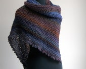 HandKnit Asymmetrical Shoulder Shawl Scarf Cowl Wrap, Stylish Comfort Prayer Meditation, Blue Violet Brown Rust, Ready to Ship FREE SHIPPING