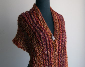 Hand Knit Shoulder Shawl Scarf Cowl Wrap, Stylish Comfort Prayer Meditation, Autumn Ruby Rust Multicolor, Ready to Ship, FREE SHIPPING