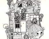 haunted house original drawing
