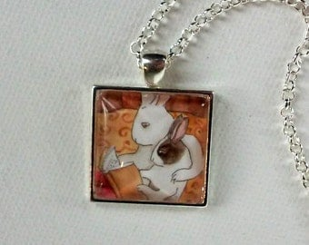 Reading Bunnies  - Square Rabbit Pendant