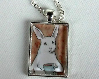 A Cup of Coffee - Unique Handmade Rabbit Pendant