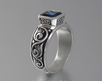 TRISTAN silver mens unisex ring with octagon London Blue Topaz