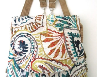 Paisley bag, backpack converts to messenger bag, crossbody bag, zipper purse, fabric handbag, zipper bag, fit ipad,