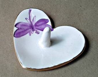 Ceramic Heart Ring Holder Bowl  dragonfly Gold Edged
