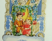 """Victorian Pop Up Valentine 3-D Made in Germany Children Dove Letter Multiple Layer Honeycomb  """"To My Love"""" Greeting Card"""