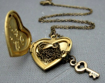"I Love You Locket Necklace // Brass Heart Locket // Tiny Brass Key Charm Bracelet // Tiny Heart Locket // 17"" Brass Chain"