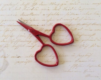 small embroidery scissors with heart shaped handles RED little love