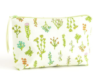 Light Green Plant Bits Boxy Zipper Pouch | Original Fabric Design | Make-up or Project Bag