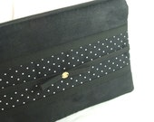 Obi purse clutch by loobyloucrafts ... Black faux suede purse tote with polka dots