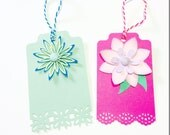 2 Large Gift Tags with Flowers