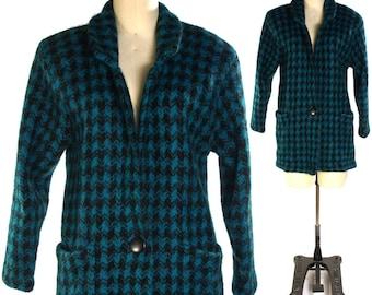 80s Mohair Sweater Coat / Vintage 1980s Houndstooth Cardigan / Novelty Plaid Pattern Knit / Boho Rocker Preppy Avant Garde / Medium or Small