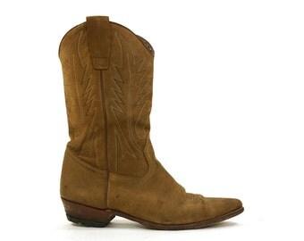 SALE Spanish Cowboy Boots / Medium Brown Leather / Women's Size 10.5 / Men's Size 9