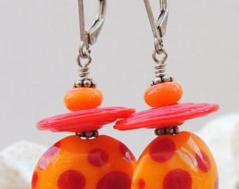 SUMMER Handmade Lampwork Bead Dangle Earrings