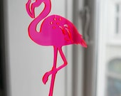 1 Neon red Flamingo - in transparent lasercut plexiglas